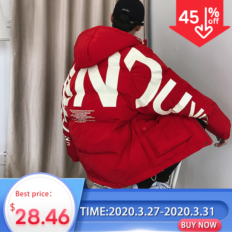 Privathinker 2020 Thick Warm Men Winter Jacket Clothes Casual Loose Harajuku Mens Parkas Coats Hooded Print Red Male Windbreaker