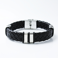 Classical Handmade Leather Chain Weaved Man Bracelets New Buckle Clasp 316L Stainless Steel Wristband Pulseiras Masculinos
