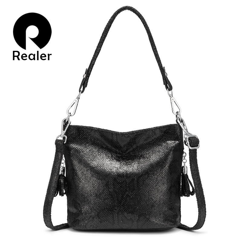 REALER Shoulder Bags For Women 2019 Luxury Handbag Women Bags Designer Large Hobos With Tassel Animal Prints Pu Leather