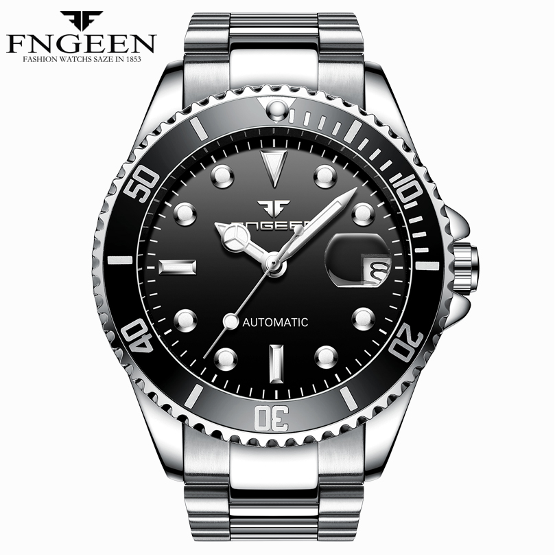Luxury Brand Men Watches Automatic Mechanical Complete Calender Classic Men Watch Transparent Back Cover High Quality Man Watch