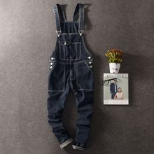 Autumn Mens Full Length Denim Pencil Pants Vintage Slim Fit Jeans Cargo Overalls Pockets Casual Homme Biker Jean Jumpsuits(China)