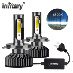 Infitary Mini H4 H7 LED Car Headlight Bulb 12000LM 6500K H1 H3 H11 H13 H27 880 9005 HB3 9006 HB4 9007 Running Auto Fog Head Lamp