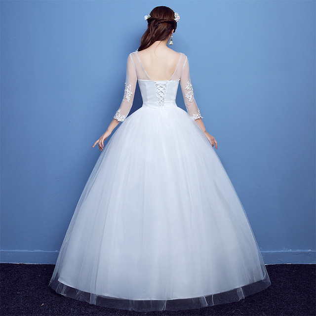 Fashion Lace Up Wedding Dress Bride Ball Gowns Wedding Dresses Half Sleeve Plus Size Princess Dresses Vestidos De Novia 3