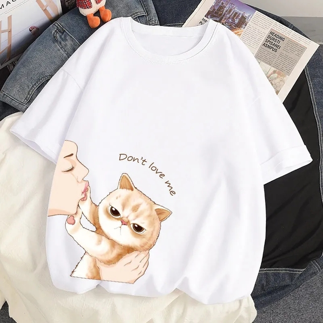 100% Cotton INS Summer New T-shirts Harajuku Japanese Cute Cat Cartoon Anime Style Loose Ulzzang Short Sleeved T-Shirt Women Top 5