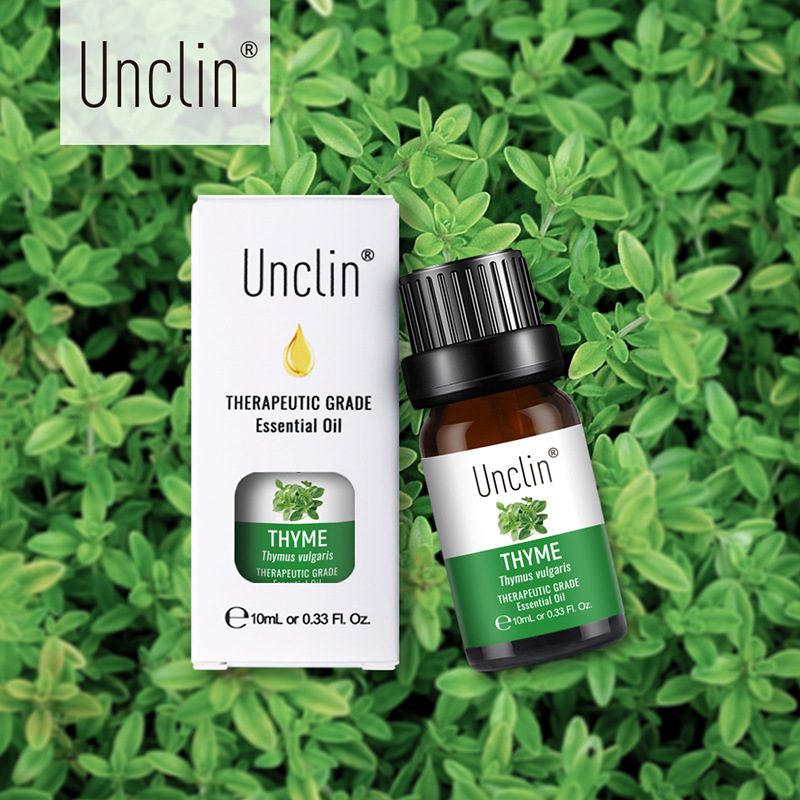 Unclin 10ml Thyme Pure Essential Oils With Gift Box For Aromatherapy fresh air Orange Peppermint Massage Essential Oil Relax
