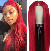 Wig Human-Hair-Wigs Lace-Front Pre-Plucked Straight Brazilian Red 13x4 with 150-% 99j/burgundy