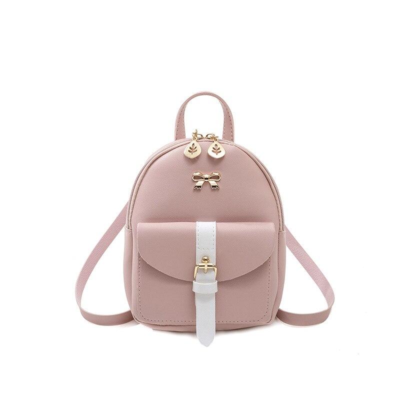 Women's Mini Backpack Luxury PU Leather Kawaii Backpack Cute Graceful Bagpack Small School Bags for Girls Bow-knot