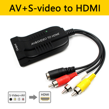 Male CVBS AV and Female S-Video To HDMI 1080P Audio Converte