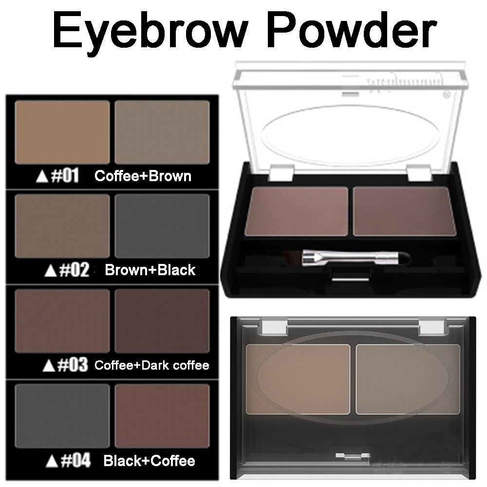 Girls Women Eyeshadow Cake Makeup 2 Color Waterproof Eyebrow Powder Eye Shadow Eye Brow Palette + Brush Eyebrow Enhancer