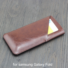 Fold Double layer Universal Fillet holster Phone Straight leather case retro for samsung Galaxy Fold pouch