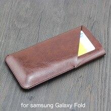 Fold dupla camada universal filé coldre telefone em linha reta caso de couro retro para samsung galaxy fold pouch
