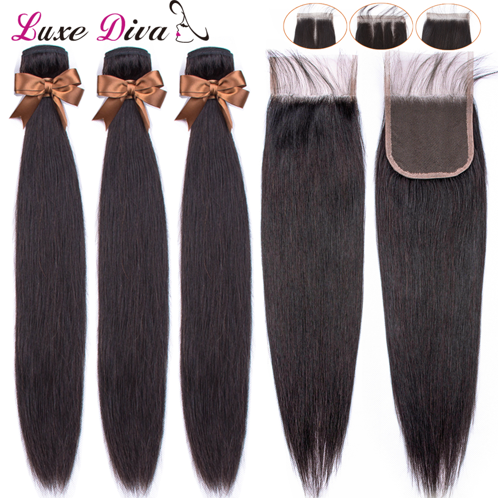 Luxediva Brazilian Straight Hair Bundles With Closure Human Hair Bundles With Lace Closure With Baby Hair Weave Bundles NoRemy-in 3/4 Bundles with Closure from Hair Extensions & Wigs