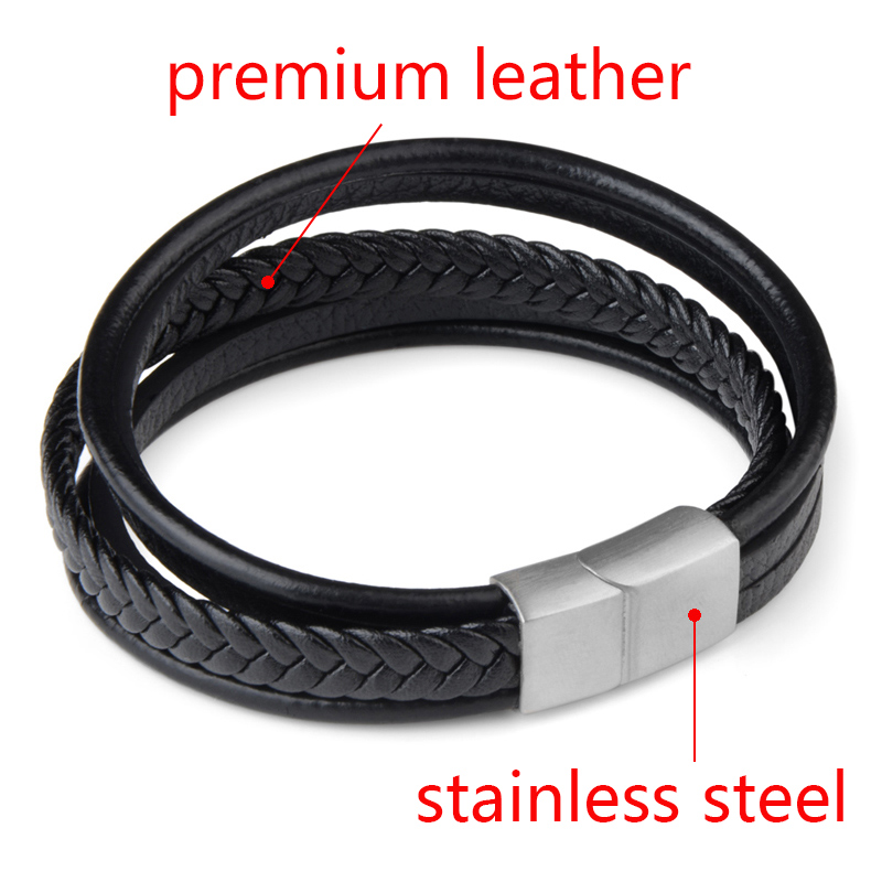 Braided Genuine Leather Men Bangle Stainless Steel Magnetic Buckle wristband Bracelet for Men Male Jewelry