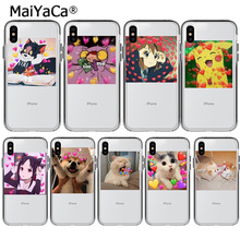 MaiYaCa super cute cat dog cartoon pink Heart-shaped Phone cover for Apple iPhone 8 7 6 6S Plus X XS max 5 5S SE XR