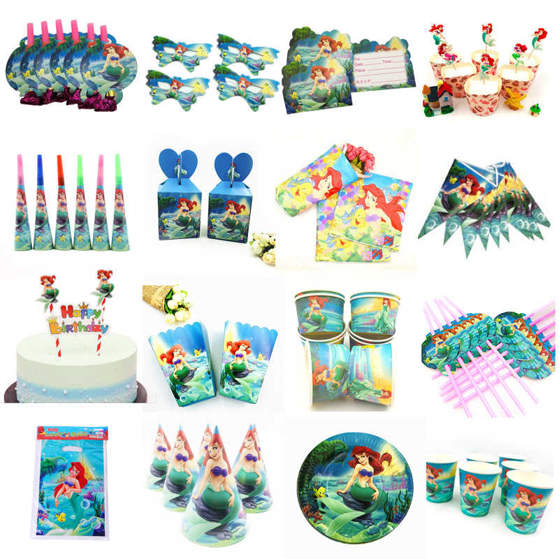 10 Kids Little Mermaid Disposable Tableware Happy Birthday Party Supplies Festival Decoration Event Party Favor Gender Reveal Girls Ariel Princess Tablecloth Caketopper