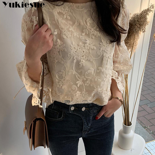 Spring Autumn New Girl Chiffon shirt Fashion embroidered lace Tops Elegant Flare sleeve Casual Women blouse Blusa womens blouses 3