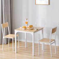 Natural Dining Table and 2 Chairs Set Strong Wooden Reinforced Steel Frame Kitchen Dining Restaurant Home Furniture