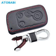 Couro chave do carro capa para honda freed spike híbrido stepwgn elysion 4 botões de controle remoto inteligente fob caso chaveiro proteger saco