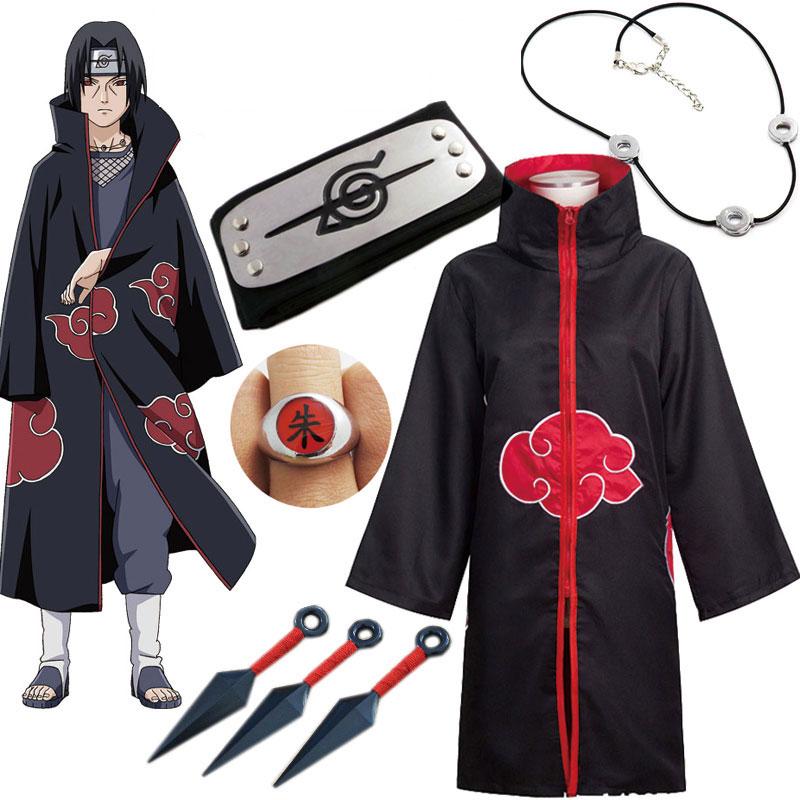 Naruto Cosplay Costume Akatsuki Cloak Uchiha Itachi Sharingan Headband Necklace Ring Kunai Pain Halloween Costume for Men Kids 1