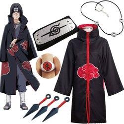 Naruto Cosplay Costume Akatsuki Cloak Uchiha Itachi Sharingan Headband Necklace Ring Kunai Pain Halloween Costume for Men Kids