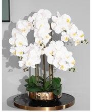 Arrangement d'orchidées en Latex de haute qualité, en silicone, toucher réel, grande taille, fleur de Table de luxe, décor de maison, hôtel, sans Vase, 1 ensemble