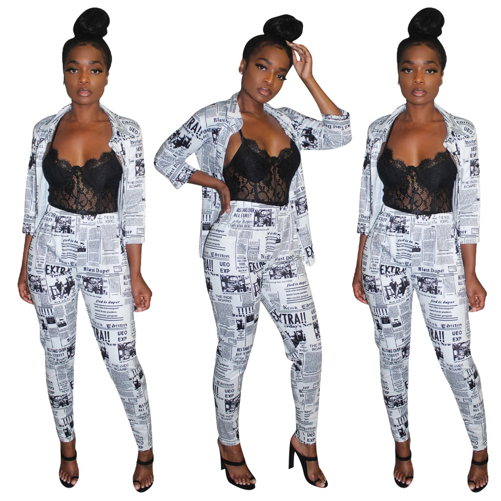 Winter Women's set Tracksuit Full Sleeve Letter Newspaper Open Stitch Blazers Pencil Pants Suit Two Piece Set outfits 3851