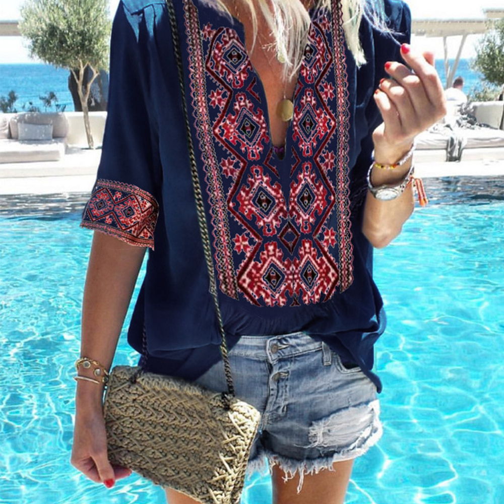 Oeak 2019 Women Ethnic Style Bohemian   Blouse     Shirt   Sexy V Neck Beach Blusas Summer Casual printed Boho   Blouses   4XL 5XL