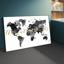 Abstract Grey Ink Map Poster Canvas Painting Poster and Print Cuadro Wall Art for Living Room Home Decor