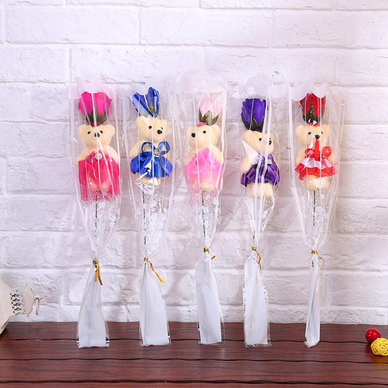 Bear Rose Flower Valentines Day Gift For Girl Friend Creative Cartoon Bouquet Dolls Gift Party Decorations Favors Festive Supply