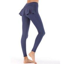 Skirt Sweat-Leggings Yoga-Pants Fitness Running Sport Women Fake Two-Piece