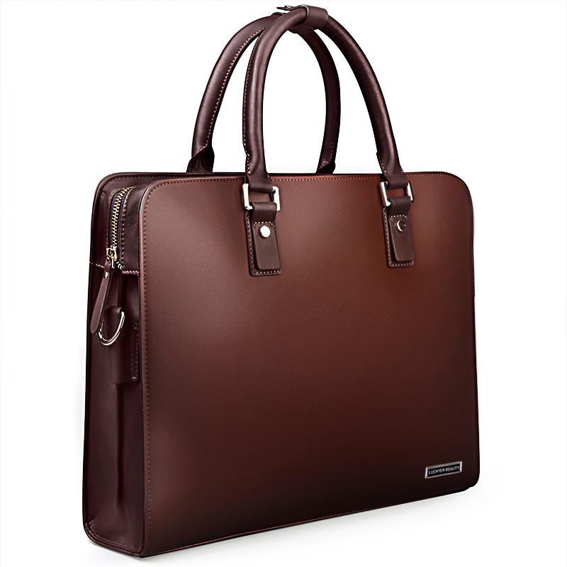 LUCKYER BEAUTY Men Bag Briefcase Leather Computer Bag Messenger Handbag Purses Jobs Genuine Leather