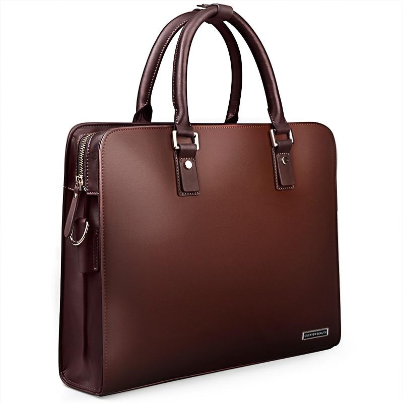 LUCKYER BEAUTY Men Bag Briefcase Leather Computer Bag Messenger Handbag Purses Jobs Genuine Leather