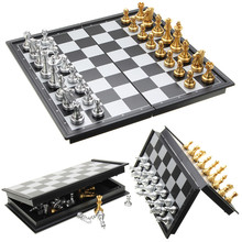 Travel Chess Backgammon Checkers Wooden Folding 3-In1 Indoor