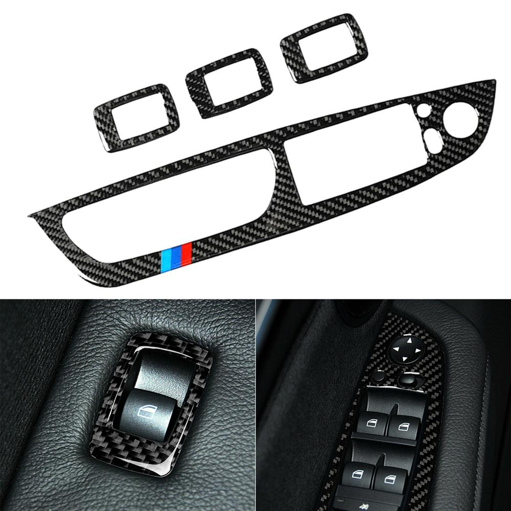 Carbon Fiber Door Window Switch cover For BMW X5 E70 X6 E71 Armrest button Trims
