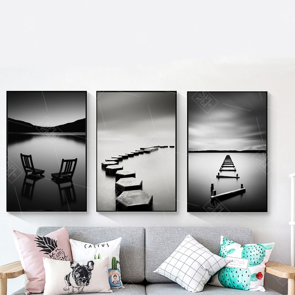 Black-and-White-Landscape-Canvas-Painting-Stone-Wooden-Bridge-Posters-and-Prints-Wall-Art-Pictures-for (3)