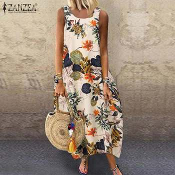 Floral Printed Long Dress Cotton