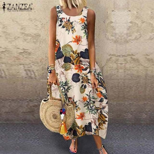 Floral Printed Long Dress Cotton