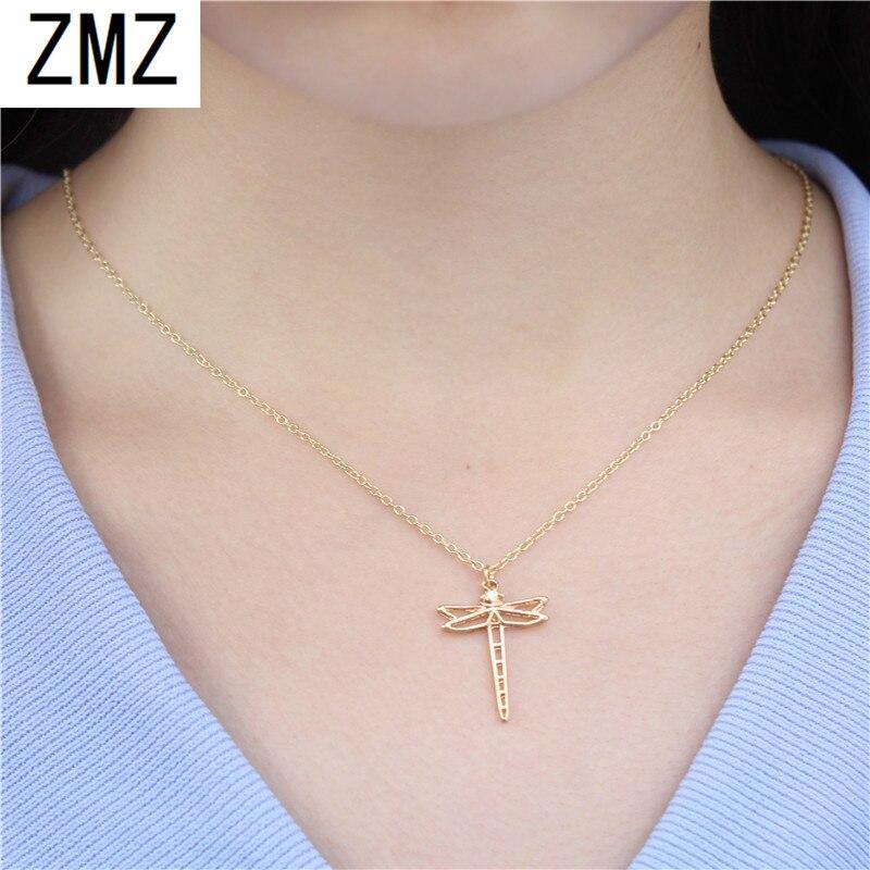 ZMZ 50pcs Europe/US mode évider un pendentif libellule mignon collier cadeau pour maman/petite amie fête or/argent bijoux
