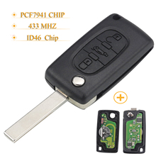 Kutery 3 Knoppen Filp Vouwen Afstandsbediening Autosleutel Voor Citroen Peugeot Sleutel Vragen 433 Mhz Id46 Pcf7941 CE0523