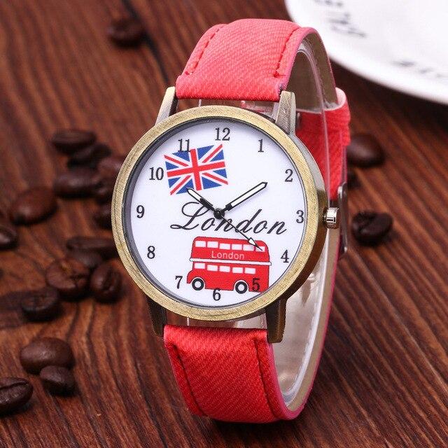 Reloj hombre venda quente denim retro carro bandeira britânica relógio casual relógio unisex relógio de presente de aniversário para mulher 4