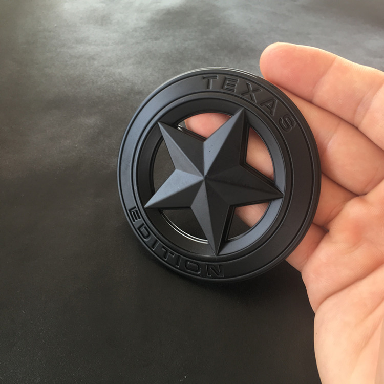 1 PCS 3D Metal TEXAS EDITION Shield Pentagram Emblem Badge Car Fender Side Body Sticker For Wrangler Liberty Grand Car Styling