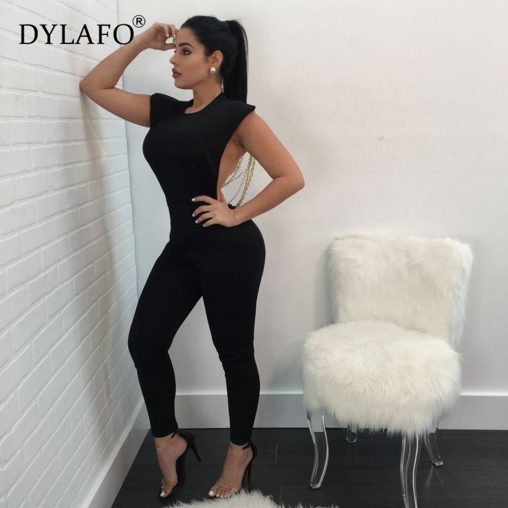 Hot Sale Pearl Chain Sexy Backless Jumpsuit Women Sleeveless Skinny Bodycon Rompers Women Party Overalls Casual Tassel Playsuits Pants & Capris Women Bottom ! Plus Size Women's Clothing & Accessories
