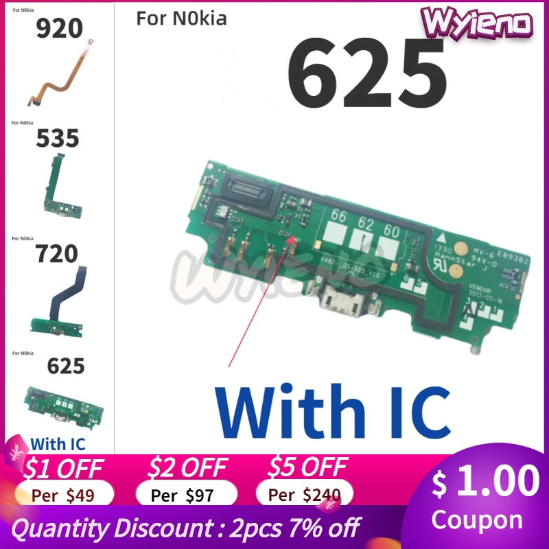 Wyieno For <font><b>Nokia</b></font> <font><b>Lumia</b></font> <font><b>625</b></font> 720 920 535 <font><b>USB</b></font> Dock <font><b>Charging</b></font> <font><b>Port</b></font> Charger Plug Flex Cable Microphone MIC Connect Board image