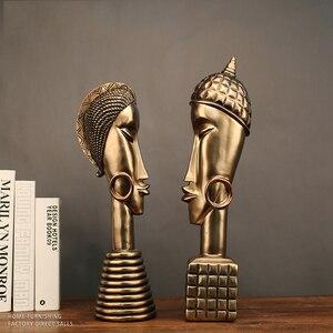 Украшение дома аксессуары Смола ремесло Африка Золотой мужчины и фигура женщины комната Орна мужчины ts Африка женщины скульптура, Декор