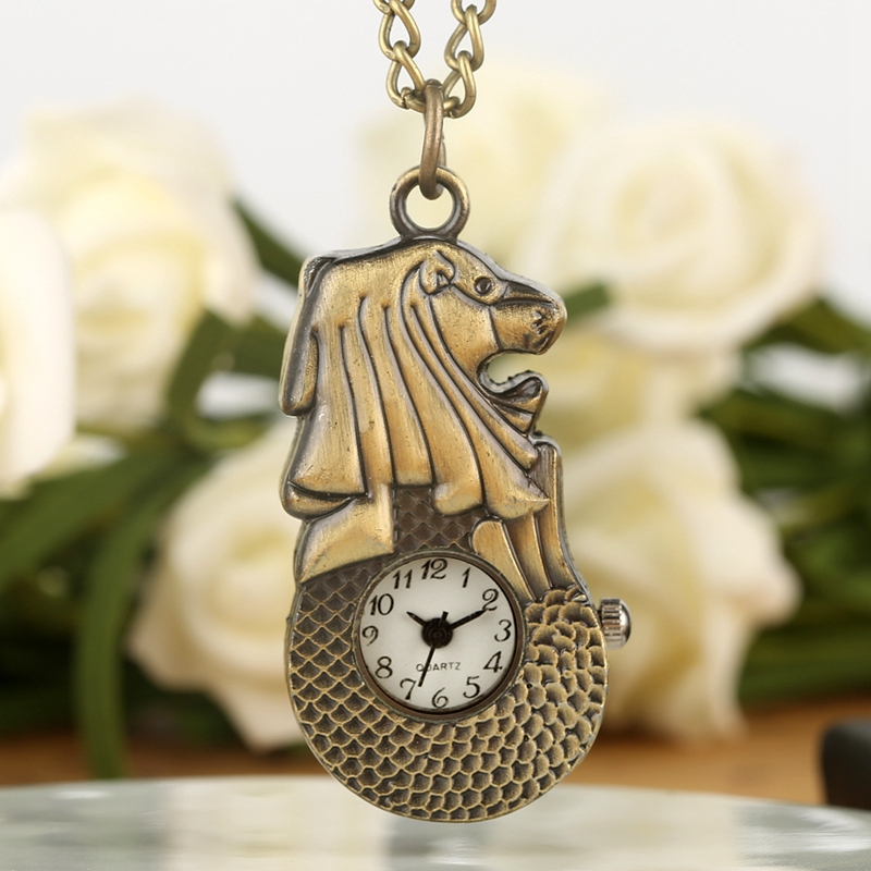 Retro Bronze Mini Singapore Merlion Quartz Pocket Watch Sweater Chain Slim Pendant Necklace Clock Souvenir Gifts For Men Women