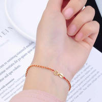 Pure 18K Yellow Gold Bracelet AU750 Gold Red String Link Bracelet Bring Lucky