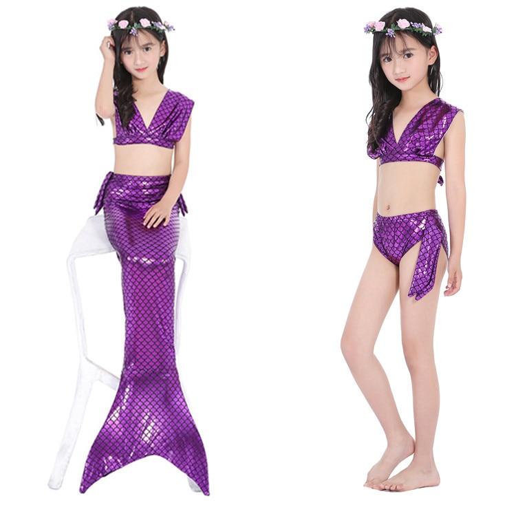 Children Mermaid Two-piece Swimsuits Girls Mermaid Tour Bathing Suit Bikini Hot Selling Compatible Swim Fins
