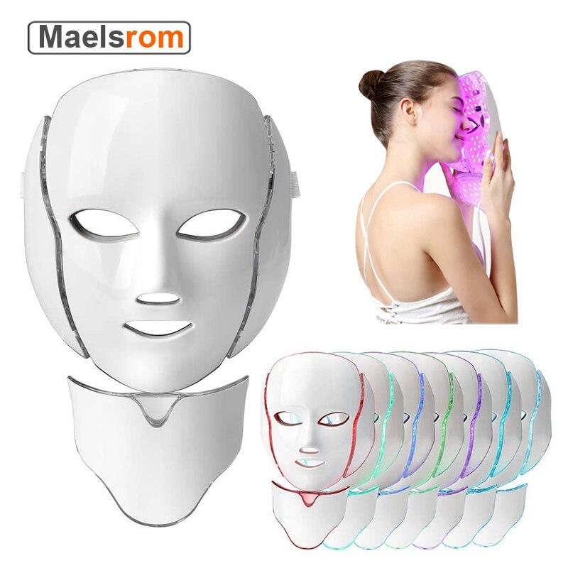 7 Colors Led Facial Mask Machine Light Photon Therapy Acne Face And Neck Set Beauty Led Light Treatment Skin Rejuvenation