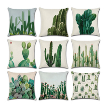 Pillowcase Decorative Square Cactus Throw pillow Protectors For Sofa cushion cover 1Pc for Bed Home Car,18x18 Inch,45x45 cm цены