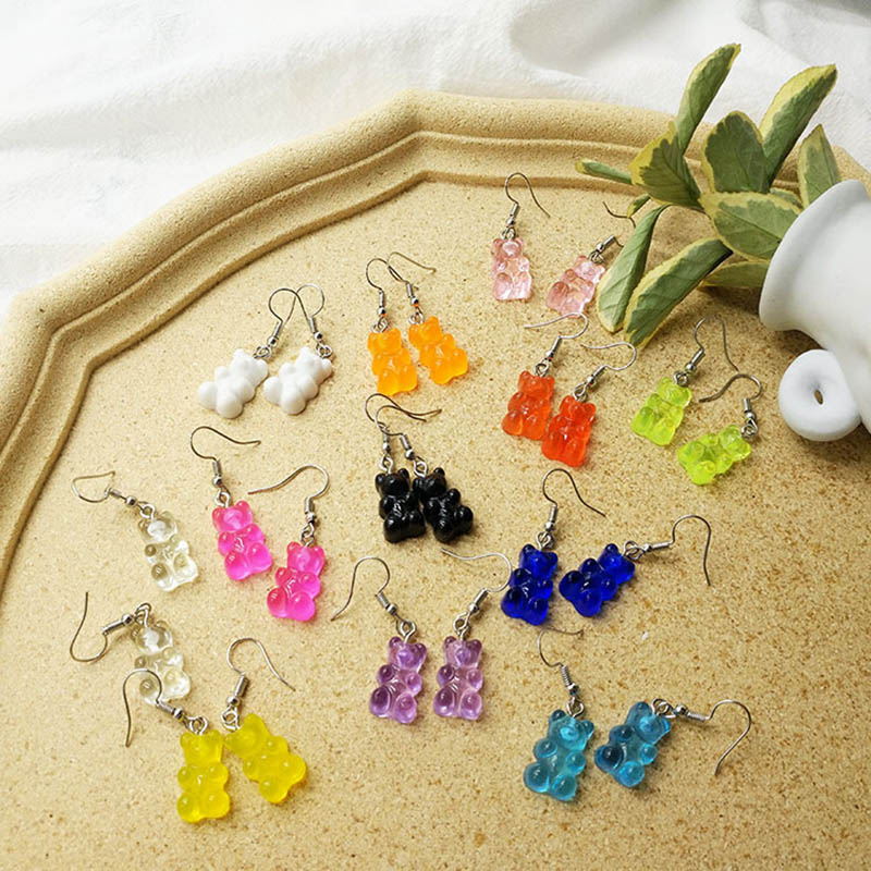 2020 New Arrival Handmade Resin Cute Cartoon Gummy Bear Earrings For Women Girl Creative Transparent Color Candy Earrings Gift
